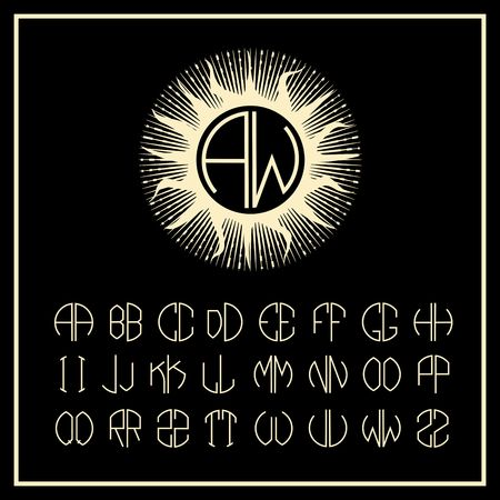 nouveau design: Outline sun monogram icons and icon design elements   of two letters in scribed in a circle in Art Nouveau style Illustration