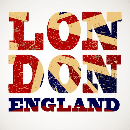 Flag of Great Britain , London city typography, t-shirt graphics Illustration
