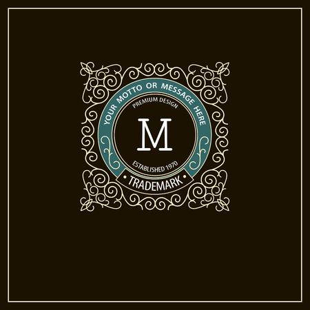 Beautiful calligraphic monogram emblem template. Frame ornament line icon design
