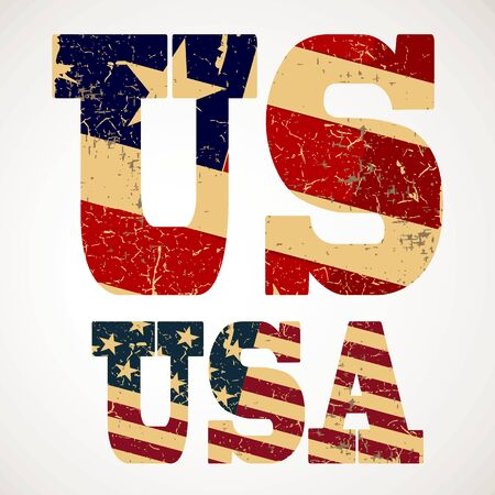 us independance: Vintage lettering US and USA flag of the United States Illustration