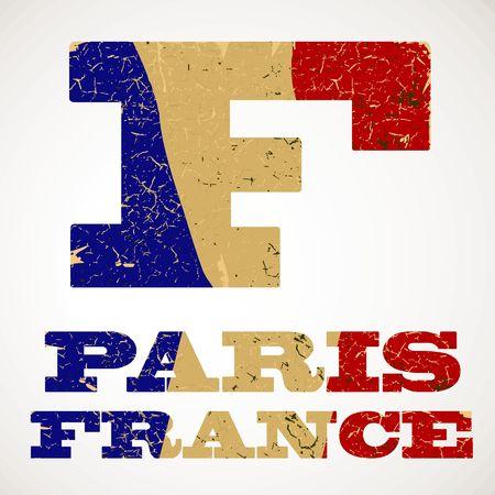Vintage lettering F and France flag , Vector