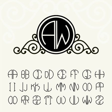 Stylish and graceful floral monogram design and Set  template letters to create monograms of two letters in scribed in a circle in Art Nouveau style Illustration