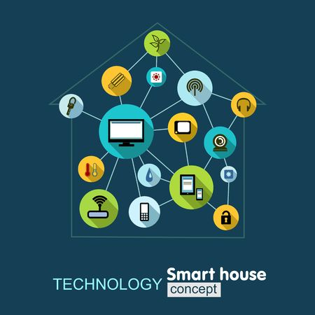 communications technology: Technology smart house. Growth background with lines, circles, integrate flat icons. Management , control and connected symbols for security, climate, media and communications.. Vector concept illustration Illustration