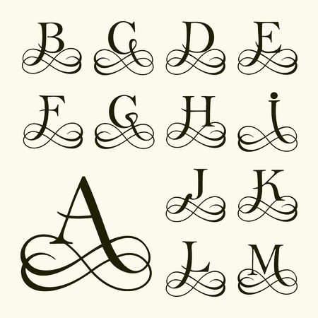 Vintage Set Capital Letter for Monograms and Logos. Beautiful Filigree Font. Victorian Style.
