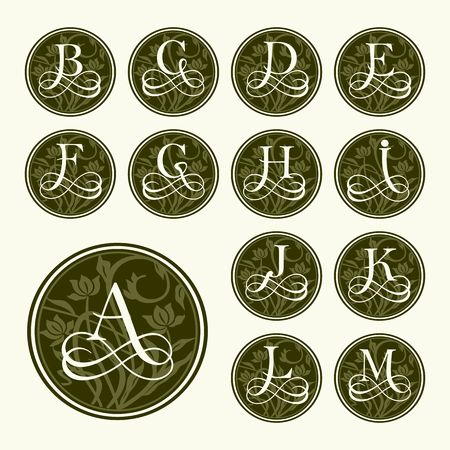 initial: Vintage set capital letters, floral Monograms and beautiful filigree font. Art Deco, Nouveau, Modern style.