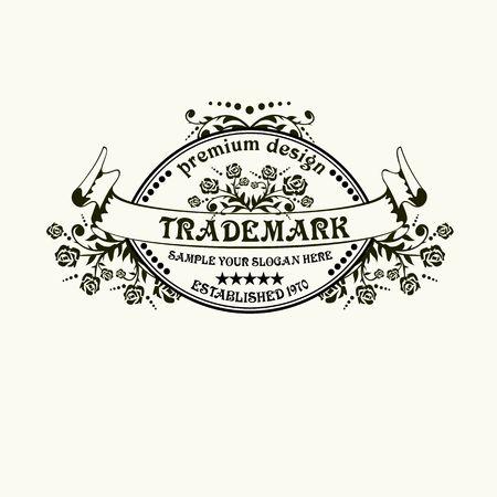 logo element: Beautiful  calligraphic monogram emblem template. Luxury elegant frame ornament line logo design vector illustration. Good for Royal sign, Restaurant, Boutique, Cafe, Hotel, Heraldic, Jewelry, Fashion Illustration