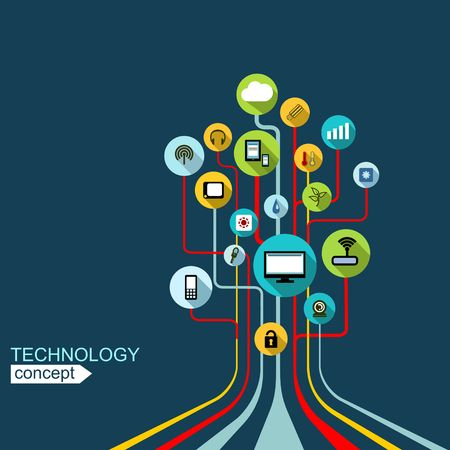 technologies: Concept technology background with lines, circles and icons. Growth tree (circuit) concept with mobile phone, technology, laptop, cloud computing, smart house