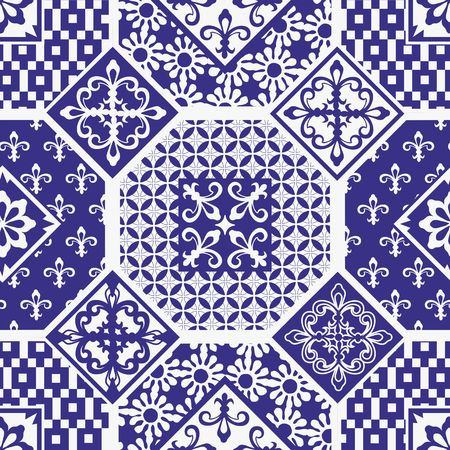 Gorgeous seamless patchwork pattern from dark blue and white ornaments. Can be used for wallpaper, pattern fills, web page background,surface textures. Illustration
