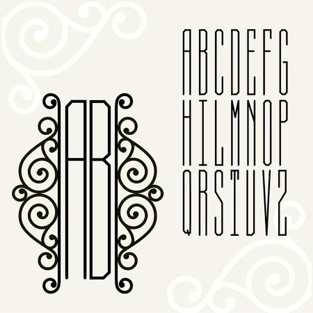 inscribed: Beautiful Monogram Art Nouveau and a set of templates of letters inscribed in a rectangle. Illustration