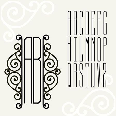 Mooie Monogram Jugendstil en een reeks brievenbeschrijvingen in een rechthoek.