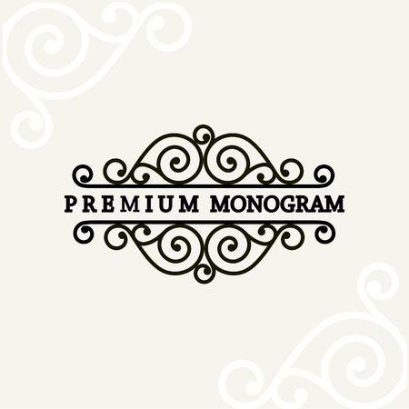 vintage floral frame: Beautiful floral monogram design , Elegant line art logo design, vector template Illustration