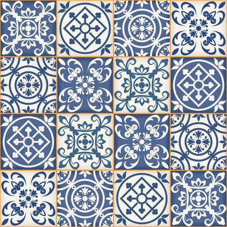 portuguese: Gorgeous seamless patchwork pattern from dark blue and white Moroccan tiles, ornaments. Can be used for wallpaper, pattern fills, web page background,surface textures.