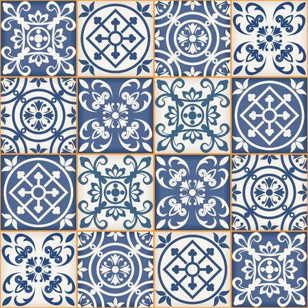 Magnifique patchwork sans couture du bleu foncé et blanc carreaux marocains, ornements. Peut être utilisé pour le papier peint, motifs de remplissage, fond de page web, des textures de surface.