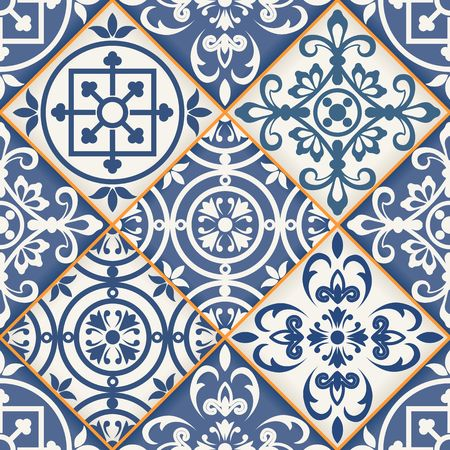 Gorgeous seamless patchwork pattern from dark blue and white Moroccan tiles, ornaments. Can be used for wallpaper, pattern fills, web page background,surface textures. Reklamní fotografie - 41958030
