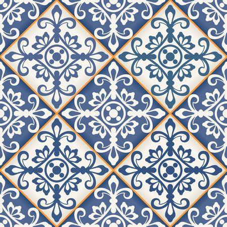ceramiki: Gorgeous bez szwu wzór z ciemnym patchwork niebieski i biały marokańskich płytek, ozdoby. Może być stosowany do tapety, wzór wypełnienia tła strony internetowej, faktur powierzchni.