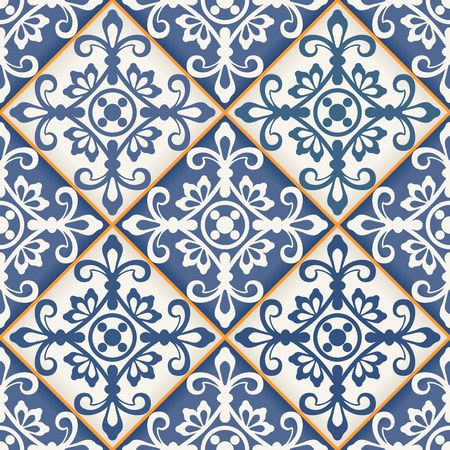 arabesque wallpaper: Gorgeous seamless patchwork pattern from dark blue and white Moroccan tiles, ornaments. Can be used for wallpaper, pattern fills, web page background,surface textures.