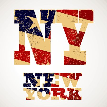 ny: Vintage lettering NY and new York flag of the United States, typography, t-shirt graphics Illustration