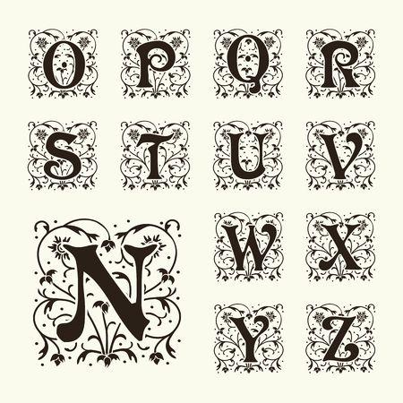 Hoofdstad vintage set brieven, bloemen Monogrammen en mooie filigraan lettertype. Art Deco, Nouveau, moderne stijl.