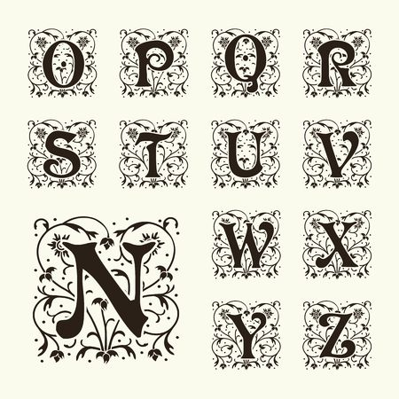 lettre alphabet: Vintage set lettres de capitaux, monogrammes floraux et belle police de filigrane. Art Deco, Nouveau, un style moderne. Illustration