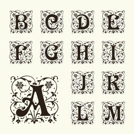 빈티지 세트 대문자, 꽃 모노그램하고 아름다운 세공 글꼴입니다. 아트 데코, 아르누보, 현대적인 스타일.