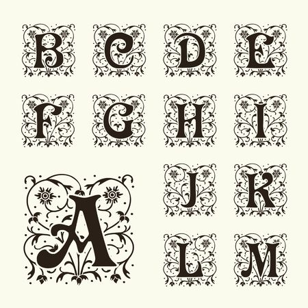 calligraphic: Vintage set capital letters, floral Monograms and beautiful filigree font. Art Deco, Nouveau, Modern style.