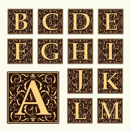 filigree: Vintage set capital letters, floral Monograms and beautiful filigree font. Art Deco, Nouveau, Modern style.