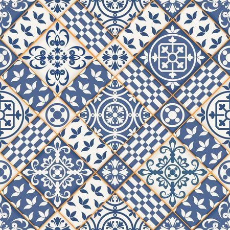 濃い青と白のモロッコ タイルから豪華なシームレスなパッチワーク パターンのオーナメントします。Web ページの背景テクスチャ、パターンの塗り  イラスト・ベクター素材