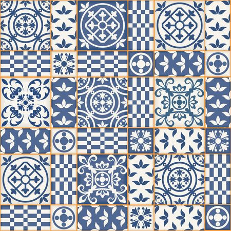 ornament: Gorgeous seamless patchwork pattern from dark blue and white Moroccan tiles, ornaments. Can be used for wallpaper, pattern fills, web page background,surface textures.
