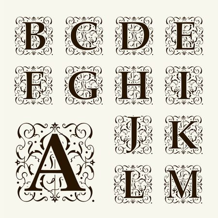 Vintage set capital letters, floral Monograms and beautiful filigree font. Art Deco, Nouveau, Modern style.