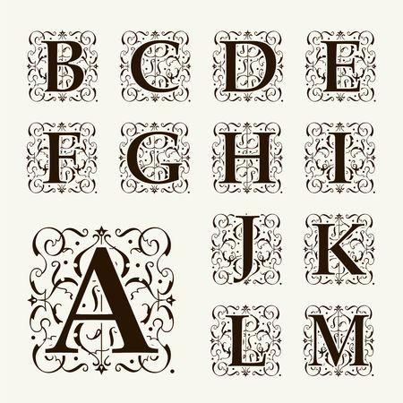 Vintage set Großbuchstaben, Blumen Monogramme und schöne filigrane Schriftart. Art Deco, Jugendstil, die das Moderne. Illustration
