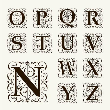 Cartas Vintage conjunto de capital, Monogramas florales y hermosa fuente de filigrana. Art déco, nouveau, estilo moderno.