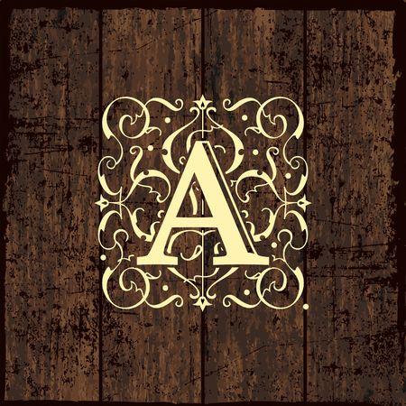 boutique hotel: Lujo plantilla del monograma del emblema. Ornamento elegante marco ilustración línea logotipo de diseño vectorial. Bueno para restaurante, Boutique, Café, Hotel, heráldico, Joyería, Moda. Plantilla Textura de madera