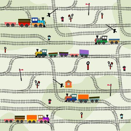 tren caricatura: Cabritos divertidos sin fisuras patrón de trenes con locomotoras Vectores