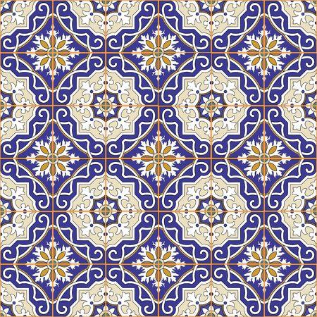 Gorgeous naadloze patchwork patroon van kleurrijke Marokkaanse tegels, ornamenten. Kan gebruikt worden voor behang, patroonvullingen, webpagina achtergrond, oppervlaktestructuren.
