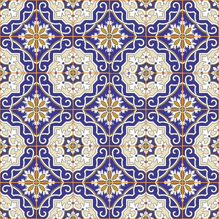 tile wall: Gorgeous seamless patchwork pattern from colorful Moroccan tiles, ornaments. Can be used for wallpaper, pattern fills, web page background,surface textures. Illustration