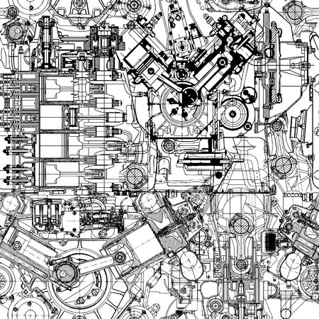 construction plans: Creative seamless pattern made up of drawings of old motors. Illustration
