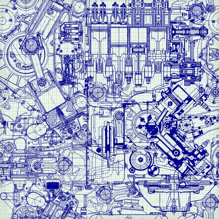 Creative seamless pattern made up of drawings of old motors, on graph paper. Can be used for wallpaper, pattern fills, web page background,surface textures. Ilustração