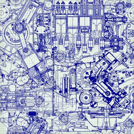 dibujo tecnico: Modelo inconsútil creativo formado por dibujos de motores viejos, en papel cuadriculado. Puede ser utilizado para el papel pintado, patrones de relleno, de fondo página web texturas de la superficie.