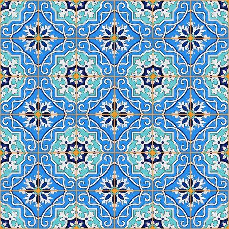 青いモロッコのタイルから豪華なシームレスなパッチワーク パターン