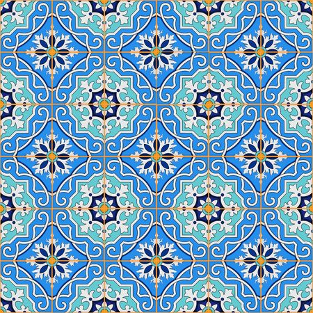 Gorgeous seamless patchwork pattern from blue Moroccan tiles