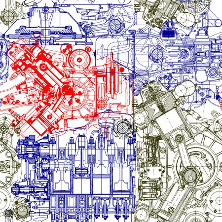 Creative seamless pattern made up of drawings of old motors.Can be used for wallpaper, pattern fills, web page background,surface textures.