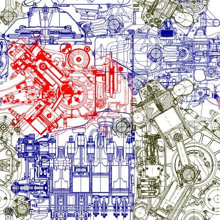 Seamless Creative composée de dessins de l'ancienne motors.Can être utilisé pour le papier peint, motifs de remplissage, fond de page web, des textures de surface. Illustration