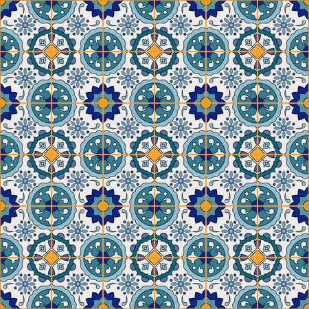 Gorgeous seamless patchwork pattern from colorful Moroccan tiles, ornaments. Can be used for wallpaper, pattern fills, web page background,surface textures.  イラスト・ベクター素材