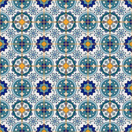 Modelo magnífico mosaico sin fisuras de coloridos azulejos marroquíes, adornos. Puede ser utilizado para el papel pintado, patrones de relleno, de fondo página web texturas de la superficie. Foto de archivo - 42963817