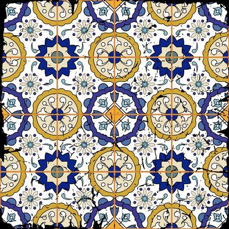 Gorgeous naadloze patchwork patroon van grunge Marokkaanse tegels, ornamenten. Kan gebruikt worden voor behang, patroonvullingen, webpagina achtergrond, oppervlaktestructuren. Grunge effecten kunnen worden verwijderd. Stock Illustratie