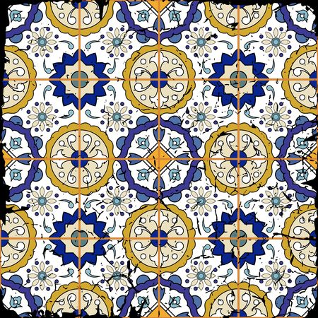 Gorgeous seamless patchwork pattern from grunge Moroccan tiles, ornaments. Can be used for wallpaper, pattern fills, web page background,surface textures. Grunge effects can be removed. Ilustracja
