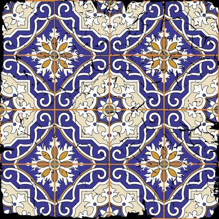 不潔なモロッコのタイル、装飾品から豪華なシームレスなパッチワークのパターン。Web ページの背景テクスチャ、パターンの塗りつぶしの壁紙に使
