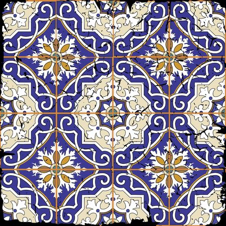 tiles: Gorgeous seamless patchwork pattern from grunge Moroccan tiles, ornaments. Can be used for wallpaper, pattern fills, web page background,surface textures. Grunge effects can be removed. Illustration