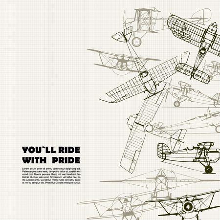 aeroplano: Vintage manifesto di viaggio. Stilizzato composizione illustrazione di aeroplano. trama della carta millimetrata può essere disattivato. Vettoriali