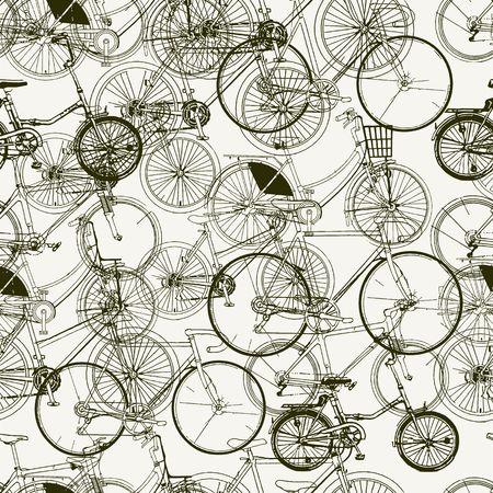 lijntekening: Abstracte Naadloze fietsen patroon. Stijlvolle vector afdruk